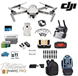 DJI Mavic Pro Platinum - Drone - Quadcopter - with 32gb SD Card - 4K Professional Camera Gimbal - Bundle - Kit - with Must Have Accessories - with Backpack