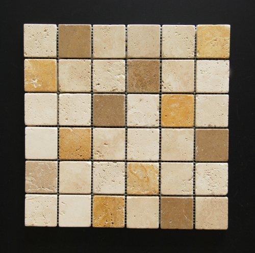 Mixed 2 X 2 Travertine Tumbled Mosaic Tiles