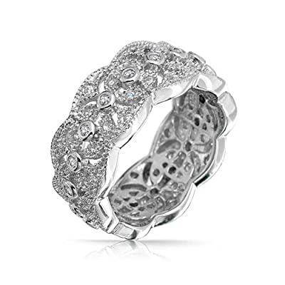 new Bling Jewelry CZ Vintage Style Leaf Band Sterling Silver Ring free shipping
