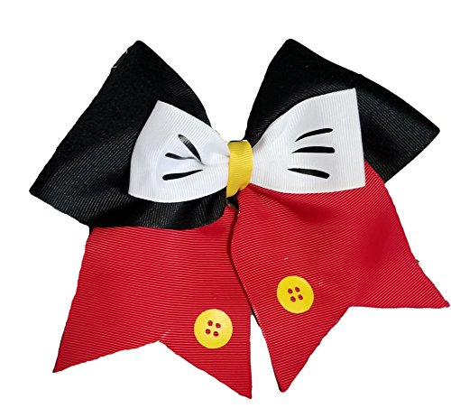 Cheer bows Red and Black Mickey Mouse Hair -