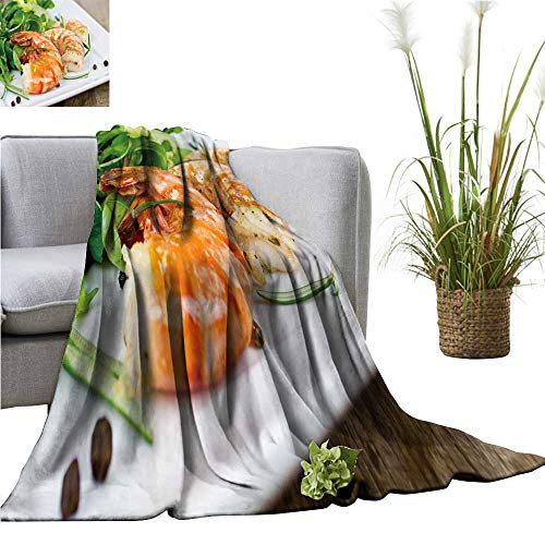 YOYI Warm Blanket Grille Prawns Winter Lightweight Thermal Blankets for Couch Bed Sofa 50