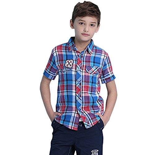 Tuzama Kids Boys' Plaid Button Down Fashion Polo Shirts 11-12 Years