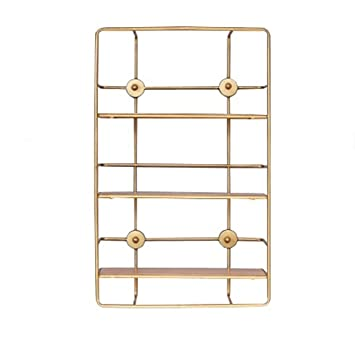 Bookshelf Copper Wrought Iron Rectangular Decorative Frame Three Tiered Shelf Phase Metal Partition Storage