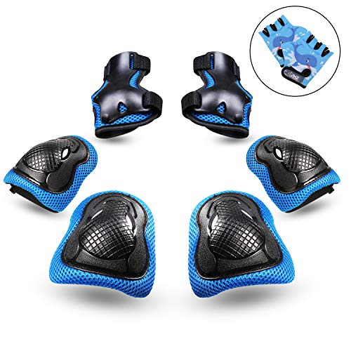 PHZ Kids 3 in 1 Knee Pads Elbow Pads Wrist Guards Protective Gear Set for Rollerblading Skateboard Cycling Skating Bike (Blue)