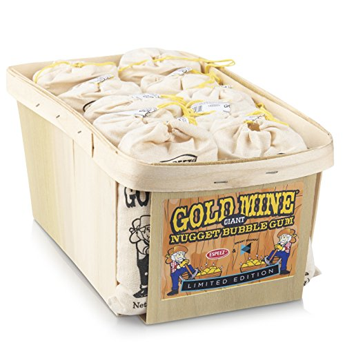 Old Fashioned Bubble Gum: Fruit Flavor Chewing Gum in Individual Drawstring Bags by Espeez - Candy Buffet Vintage Bulk Candy Packs for Parties and Special Events - Gold Mine Nugget Gum - 12 Giant Bags ()