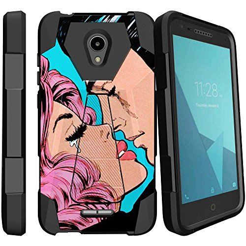 MINITURTLE Compatible with Alcatel Verso, Ideal Xcite, Raven A574BL, Fiji [Shock Absorbing] Protection Hybrid Stand Rubberized Hard PC/Silicone Case Cover - Kiss Goodbye