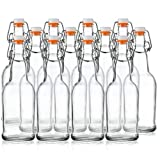 Home Brewing Glass Beer Bottle with Easy Wire Swing Cap & Airtight Rubber Seal - 16oz - Case of 12 - by Tiabo