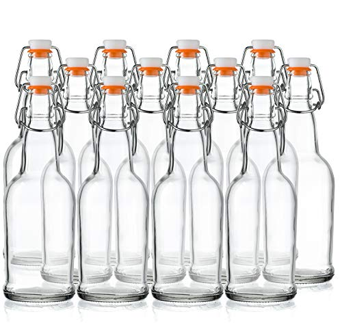 Home Brewing Glass Beer Bottle with Easy Wire Swing Cap & Airtight Rubber Seal - 16oz - Case of 12 - by Tiabo by Tiabo
