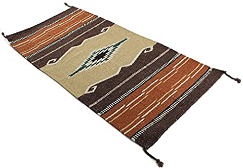 Onyx Arrow Southwest Décor Area Rug, 20 x 40 Inches, Pueblo Pattern Tan/Brown (Indian Design Throw Rugs)