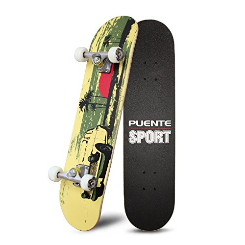 PUENTE 31 Inch Complete Skateboard - 8 Layer Canadian Maple Wood Double Kick Concave Skateboards, Tricks Skate Board for Beginners and Pro