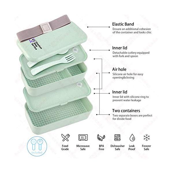 Quantum Lunch Box – salvagoccia e Senza BPA – Jausen Box per Bambini e Adulti – Bento Box con Posate, Bottiglia d'Acqua… 5 spesavip