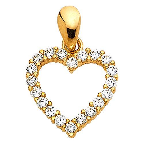 14k Yellow Gold Open Heart CZ Charm Pendant