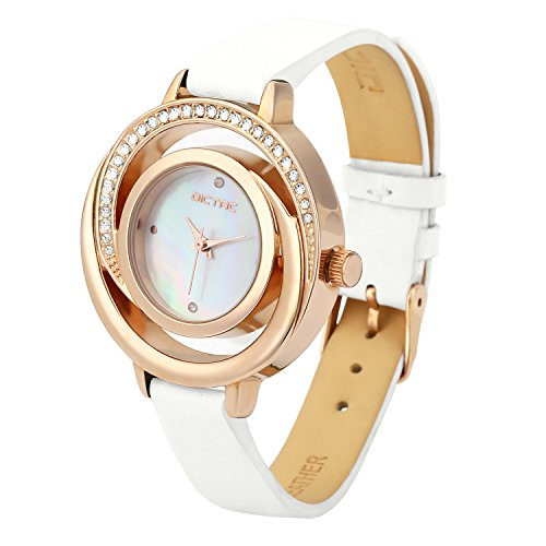 Dictac Lady Watch Business Casual Wristwatch with Leather Watchband and Pearl Fritillaria Dial (White-Gold)