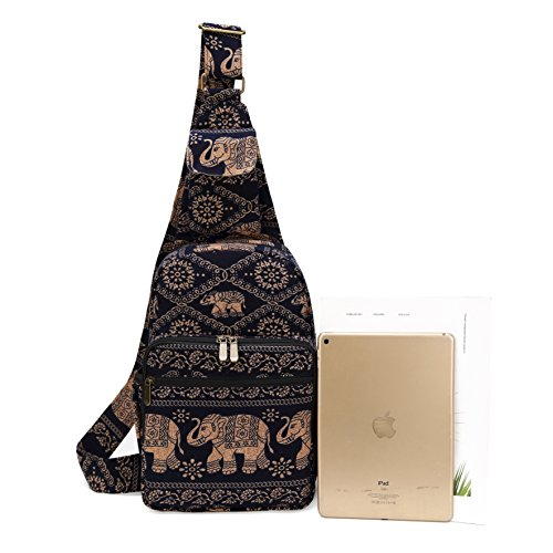 MIANZI Women Sling Bag Outdoor Sport Canvas Large capacity Crossbody Shoulder Cotton Fashion Backpack (Black) by MIANZI (Image #6)