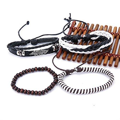 OWEGAI-80 Bracelet Fashion Women Multilayer Handmade Bangle Handmade Bracelets Leather Cool
