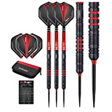 Red Dragon Milano RS: 26g - 90% Tungsten Steel Darts with Flights, Shafts, Case & Red Dragon Checkout Card