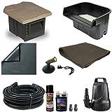 10 x 10 PVC Pond Kit 16 Inch Waterfall Pondbuilder Skimmer 2100 GPH Pump PVCXSH6