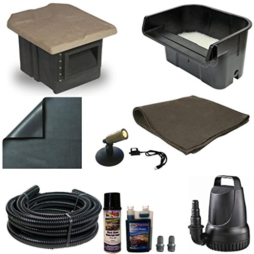 10 x 10 PVC Pond Kit 16 Inch Waterfall Pondbuilder Skimmer 2100 GPH Pump PVCXSH6 by Patriot
