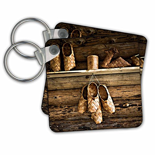 Alexis Photography - Objects - Vintage bast shoes and other bast items on a wooden wall - Key Chains - set of 2 Key Chains (kc_270425_1) from 3dRose