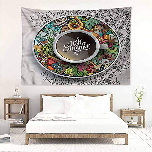 (Tapestry Hippie,Coffee Summer Doodles Saucer Artsy,Occlusion Cloth Painting,W80x60L)
