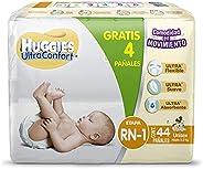 Huggies Ultraconfort Pañal Desechable para Bebé, Etapa Recién Nacido - 1 Unisex, Paquete con 44 Piezas, hasta