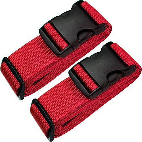 TRANVERS Luggage Straps For Suitcases Baggage Belt Heavy Duty Adjustable 2-Pack Red