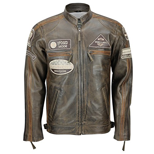 Brown Real Xposed Soft Vintage Urban Fitted Retro Mens Jacket Biker Look Racing Leather O6q745w