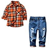 Kids Clothes Sets, Long Sleeve Button Down Plaid Shirt + Jean Denim Pants Clothing Outfits for Toddler & Little Boys, Yellow, Tag 140 = US 7-8Y/Height 55.1''