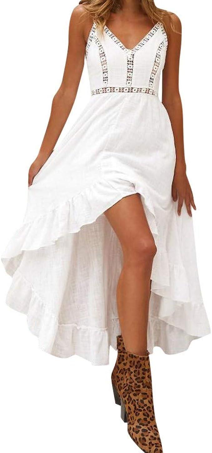 MEILINVREN Kleider, Sommer Damen Lange Boho Kleid, Elegante Weiße Spitze  Ärmellose Maxi Kleider, Vintage Bohemian Midi Kleid Frauen Kleidung