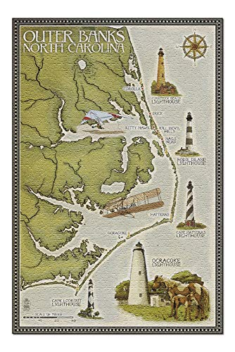 Outer Banks, North Carolina - Lighthouse and Town Map (20x30 Premium 1000 Piece Jigsaw Puzzle, Made in USA!)