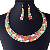 Colorful Chunky Metal Lolita Pink Oil Drop Chaplet Collar Necklace Party Earring