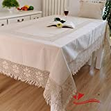 FADFAY Home Textile,Brand Cotton Linen Woven Lace Tablecloth,Fashion North European Style Table Cloth Rectangular,Designer Crochet Tablecloth For Square Table