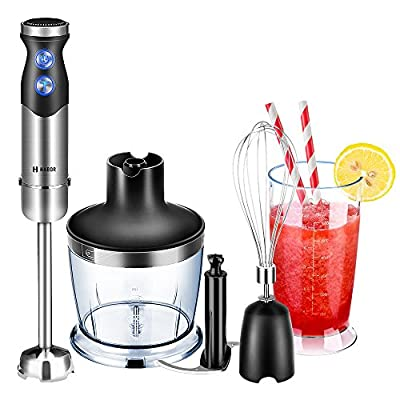 Hand Blender, Habor Powerful 4-in-1 Immersion Blender with Variable 7 Speed Smart Stick Blender with Food Chopper (500ml), BPA-FREE Beaker (600ml) and Egg Whisk for Baby Food Smoothies Soup Juice