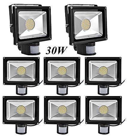 Leetop 8X Interior y Exterior 30W LED Focos Blanco Cálido con Sensor de Movimiento,con