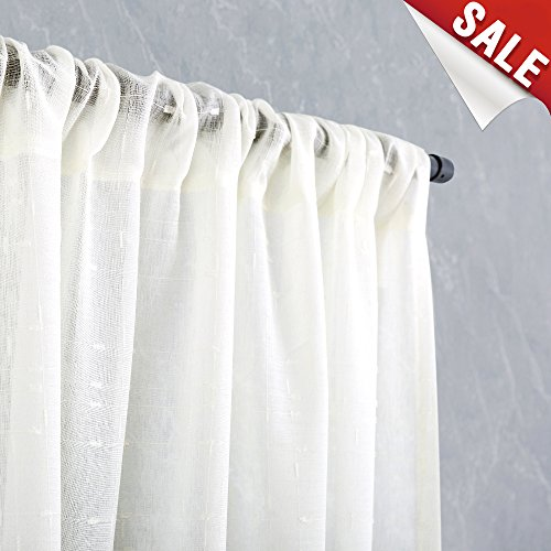 White Sheer Curtains for Bedroom Window Curtain Set for Living Room 95 Inches Length Linen Textured Checkered Décor 2 Panels (Curtains Pretty)