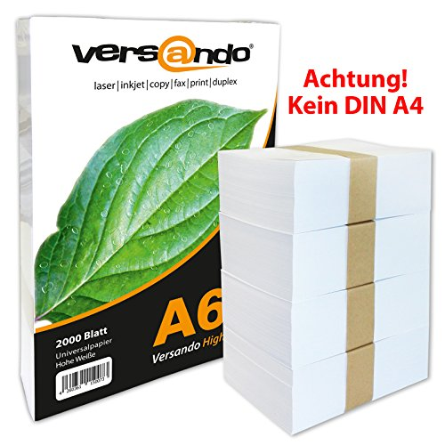 2000 Blatt DIN A6 (105x148mm) hochweißes ökologisches Druck- und Kopierpapier MARKE versando® 80 Umweltzertifikat Druckerpapier, Universalpapier, Papier, Notizpapier, Fax und Tintenstrahldrucker und Schreibpapier Notizzettel, (auch als Notiz- und Rezeptpapier) 80g/qm