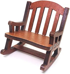 ONWRACE 1/12 Doll House Miniature Rocking Chair Furniture Model, Mini Simulated Wooden Chair Furniture Model for DIY Scenery Pretend Play Accessory Toy Chair