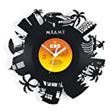 Art Vinyle LP Disque Horloge Murale Retro Metropole Miami Pendule Travail Manuel