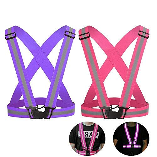 Reflective Vest Straps for Running, Walking, Cycling and Motorcycle, High Visibility All Day and Night, Fits over Outdoor Clothing, Breathable Waterproof Lightweight Design(2 Pack)