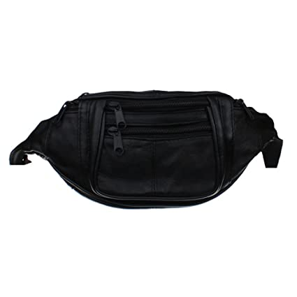 "0b5272760ee Small Black Leather Fanny Pack Waist Bag for Travel or Hiking - Main  Compartment Approximately 6.5"" X 4"" X 2.5"""