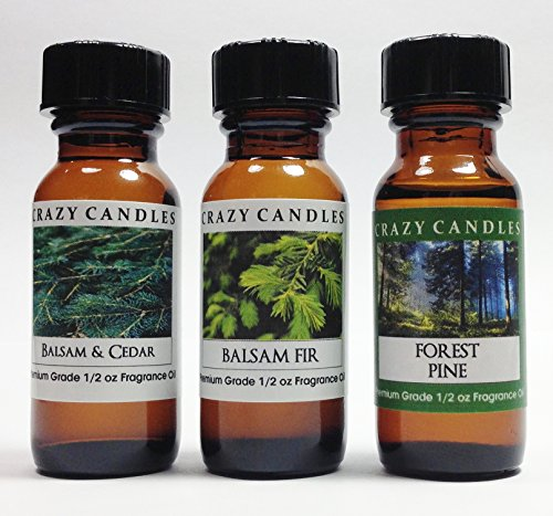 3 Bottles Set 1 Balsam & Cedar, 1 Balsam Fir, 1 Forest Pine 1/2 Fl Oz Each (15ml) Premium Grade Scented Fragrance Oils By Crazy (Balsam Fragrance Oil)