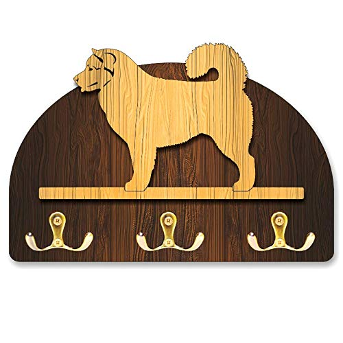 Hanger/holder leashes with figurine Alaskan malamute dog, rack key of wood, handmade
