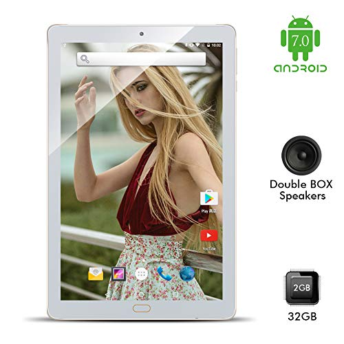 """Kivors 10"""" Inch Touch Screen Tablet - Android 7.0 Nougat-2GB RAM + 32GB ROM - Quad Core Unlocked WiFi Tablets - IPS 1280x800 HD - Dual Camera - GPS WiFi Android Tablets(Gold)"""