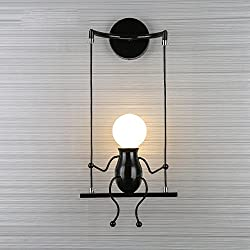 Simple Fashion Doll Swing Children Wall Lamp Modern Living Room Bedroom Creative Bedside Wall Light Holiday / Wedding Gift (white, Red, Black) ( Design : C )