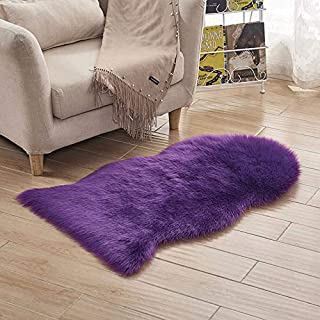 LOCHAS Deluxe Super Soft Fluffy Shaggy Home Decor Faux Sheepskin Rug for Bedroom Floor Sofa Chair, Chair Cover Seat Pad Couch Pad Area Carpet, 2ft x 3ft, Purple