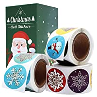 """Cualfec Christmas Stickers Roll Winter Holiday Stickers 1.5"""" Round - 21 Designs Assortment 630 Stickers"""