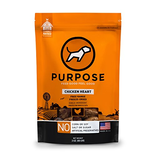Purpose Freeze Dried Raw Whole Chicken Heart Free-Range Treats for Dogs & Cats 3 Oz -