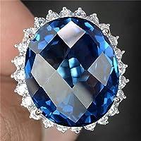 khamchanot Huge 6.5Ct Sapphire Women Men 925 Silver Gemstone Cocktail Ring Wedding Vintage (7)