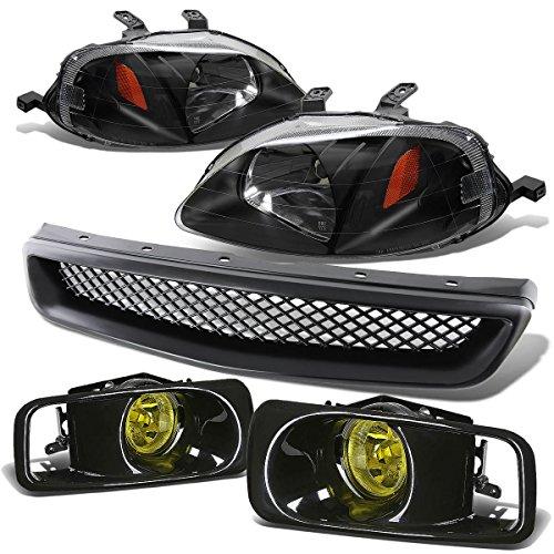For Honda Civic Headlight (Black)+Bumper Fog Light (Amber Lens)+Grille - 6th Generation EJ EM EK D16 - Facelifted (Honda 00 Grille Civic)