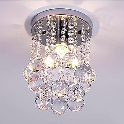1-Light Mini Chic Crystal Chandeliers Flush Mount Crystal Chandelier Light Ceiling Lamp Light Rain Drop Pendant For Living Room, Hallway, Kitchen, Dining Room, Kids Room
